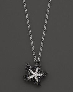 Black and White Diamond 14K White Gold Starfish Pendant Necklace, .20 ct. t.w., 16""