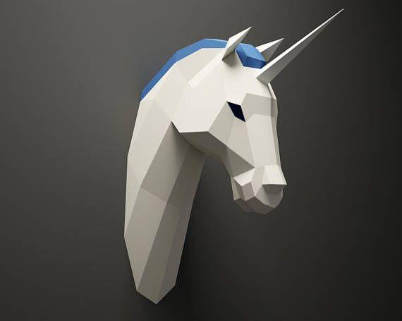 DIY Unicorn Head, licorne Paper Animal trophy, 3D Paper model, Low