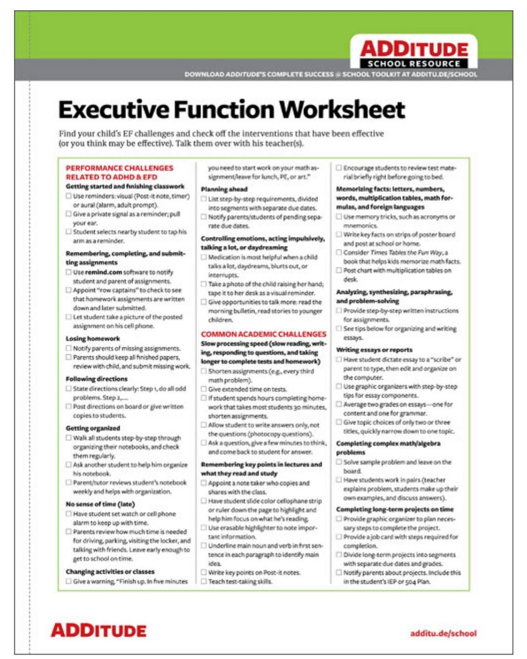 Free Printable Executive Function Worksheets For Adults