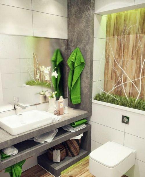 Badeinrichtung Kunstgras Und Orchideen
