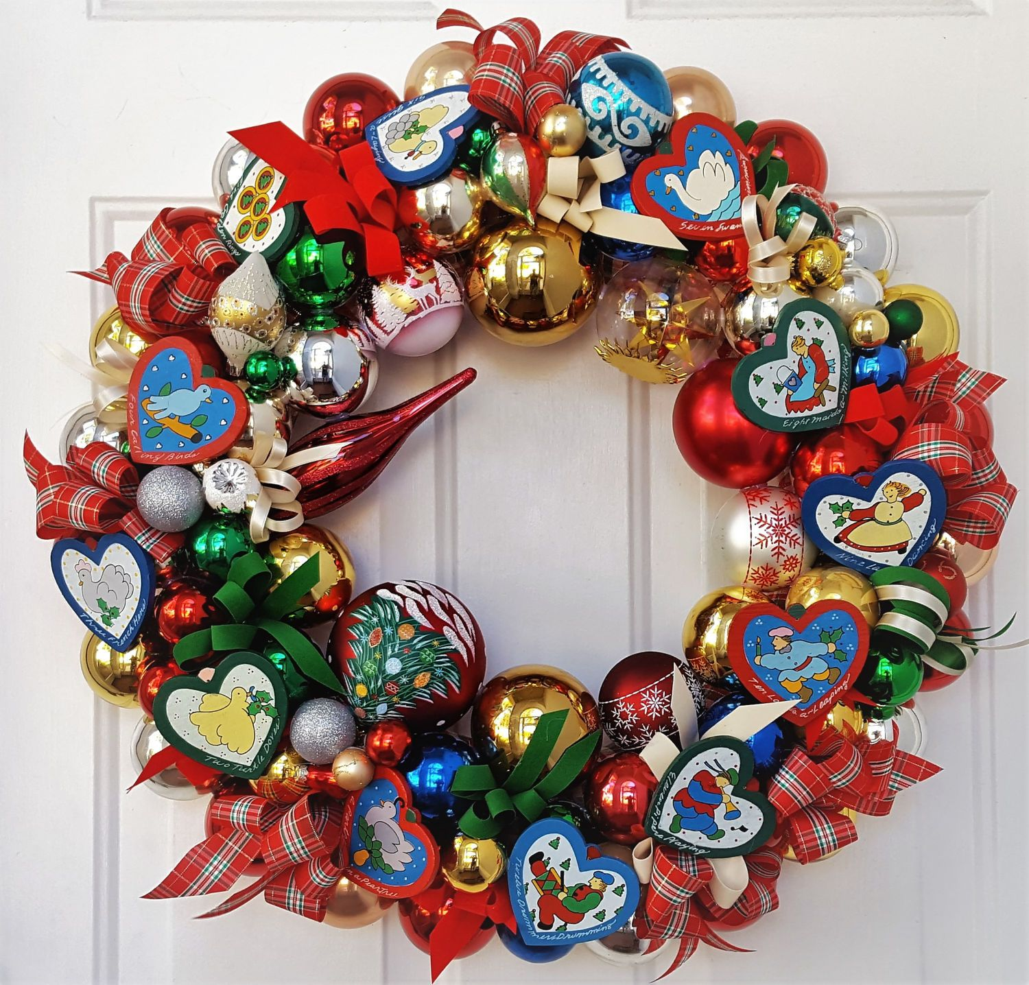 Vintage 12 Days Of Christmas 22 Glass Wood Christmas Holiday Ornament Wreath Hand Crafted Ornament Wreath Vintage Christmas Ornaments 12 Days Of Christmas