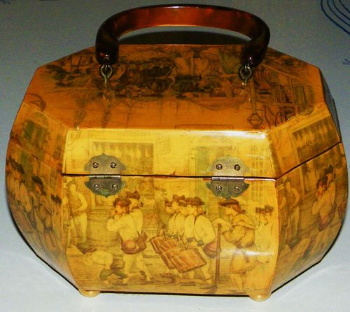 Vintage Decoupage Octagonal Wood Lucite Purse Colonial Parade Street Scene Look | eBay