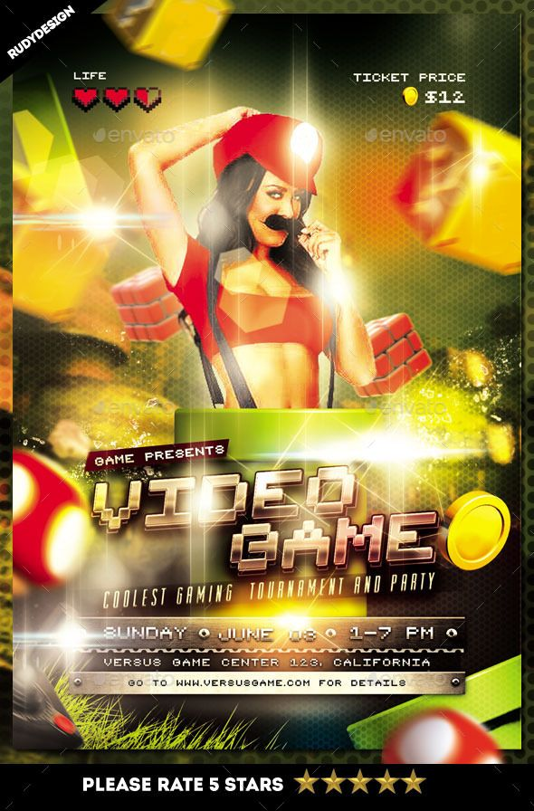 Video Games Party Flyer Template  Video Game Party Party Flyer