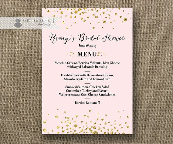 blush pink gold menu with gold glitter gatsby wedding menu bridal shower hens party bold modern printable digital or printed remy style