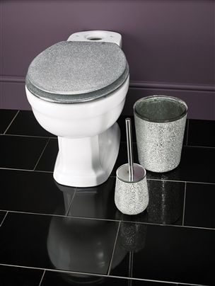 Silver Glittery Bathroom Accessories May Be A DIY Project From Breathtaking Glitter Contemporary