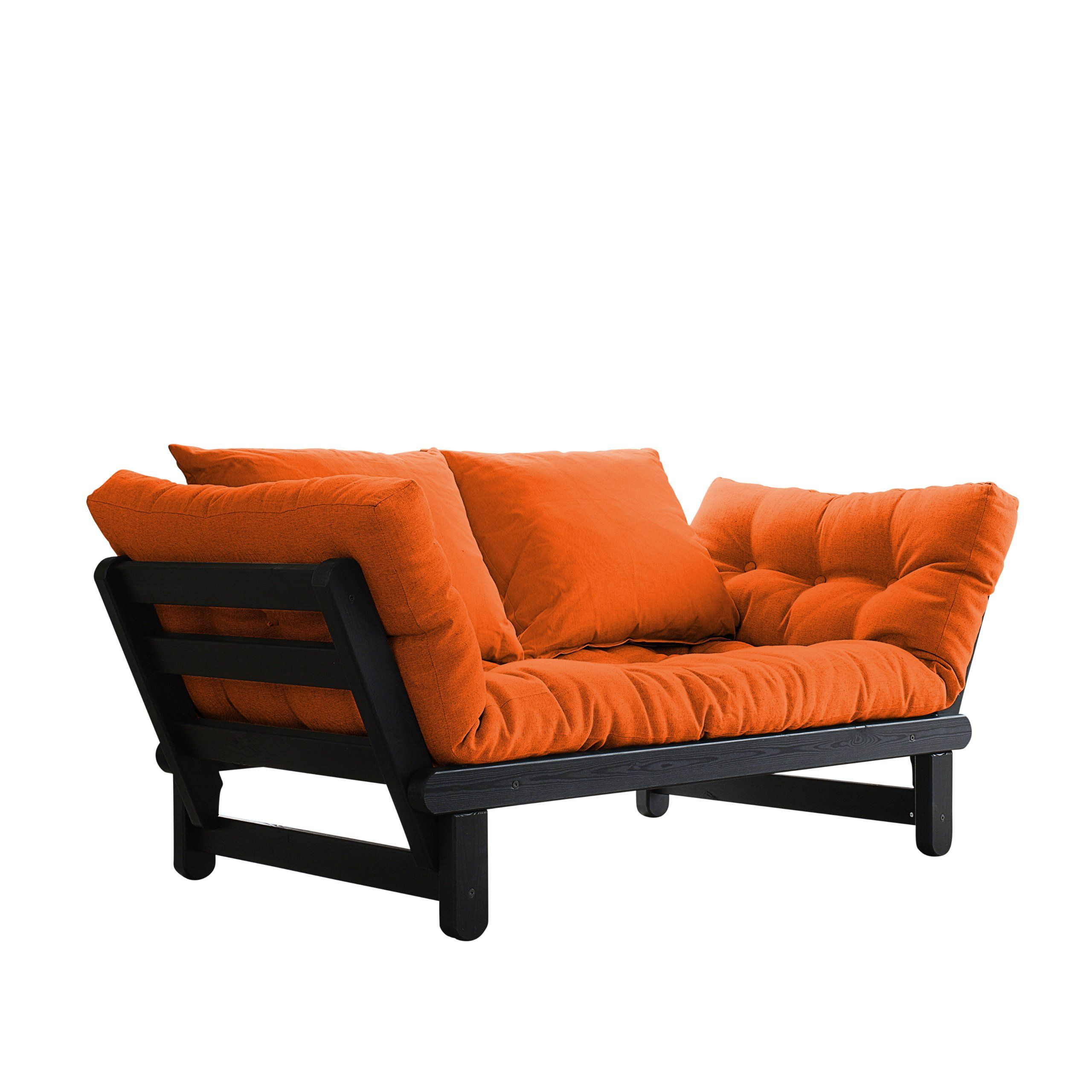 Fresh Futon Beat Convertible Sofa Bed Black Frame Orange Mattress