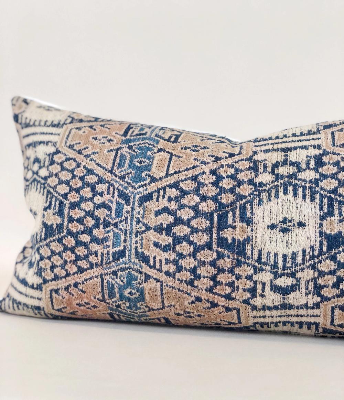 11x20 Chinese Ikat Lumbar Pillow Case Vintage Embroidered Textile Desi Cloth And Main Ikat African Mud Cloth Ikat Pillows