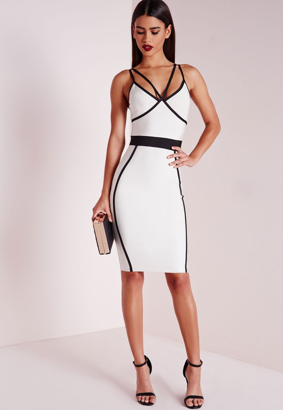 1aacf90a53 Missguided - Premium Contrast Piping Bandage Bodycon Dress Mono ...