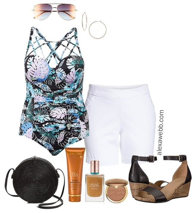 8b28dd79e85d Plus Size Cruise Casual Outfits - Plus Size Vacation Swimsuit Outfit with White  Shorts - Plus Size Fashion for Women - alexawebb.com  plussize  alexawebb