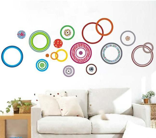 70*50cm colourful circles decal removable stickers decor vinyl diy