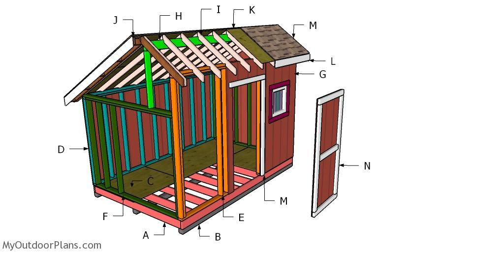 8x12 Saltbox Shed Roof Plans Myoutdoorplans Free Woodworking Plans And Projects Diy Shed Wooden Playhouse Pergola B Diy Shed Roof Plan Wooden Playhouse