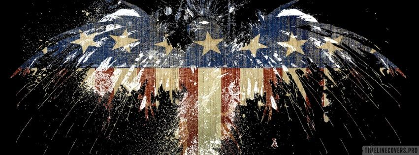 American Flag On Black Background Facebook Cover Background