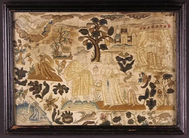 Item Details. Wilkinson's Auctioneers.  A 17th Century Stumpwork Embroidered intricately worked in a variety of elaborate stitches, depicting figures amidst sprays of flowers, a fruiting pear tree, embryonic oak tree with acorns, moths, a caterpillar and a man atop a castle in background. The principal figures marked out on an ivory silk ground. Set in a glazed frame 14¼ ins x 19¾ ins (36 cm x 50 cms).