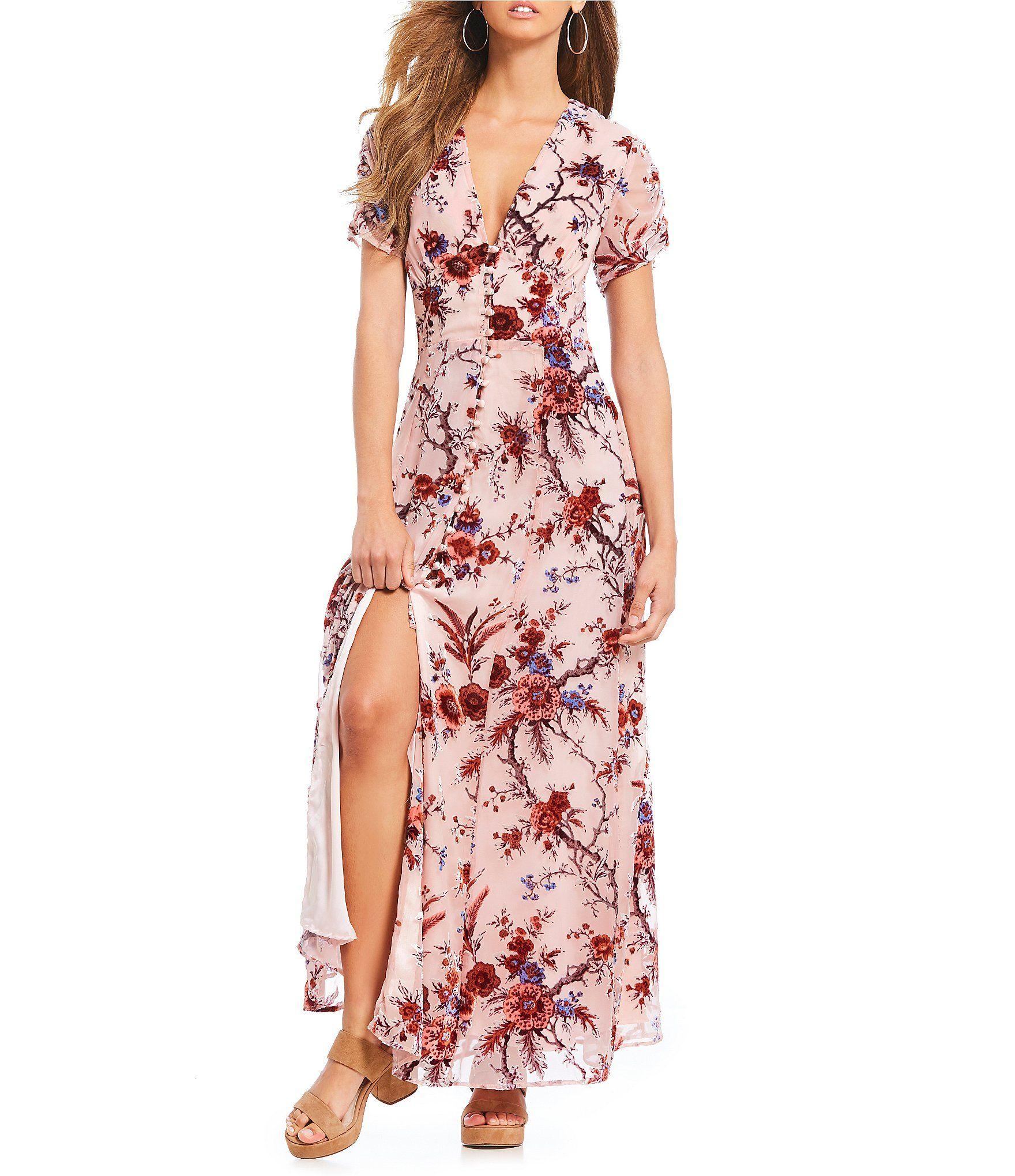 eda58239cc3 Willow and Clay Floral Print Burnout Victorian Maxi Dress  Dillards ...
