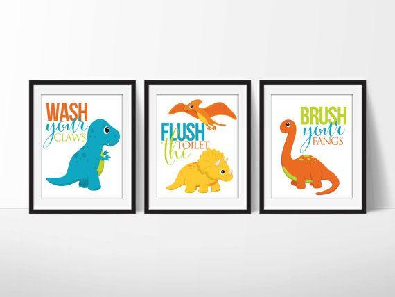 Bathroom Signs Pdf dinosaur bathroom signs 8x10 prints, downloadable art, set of 3