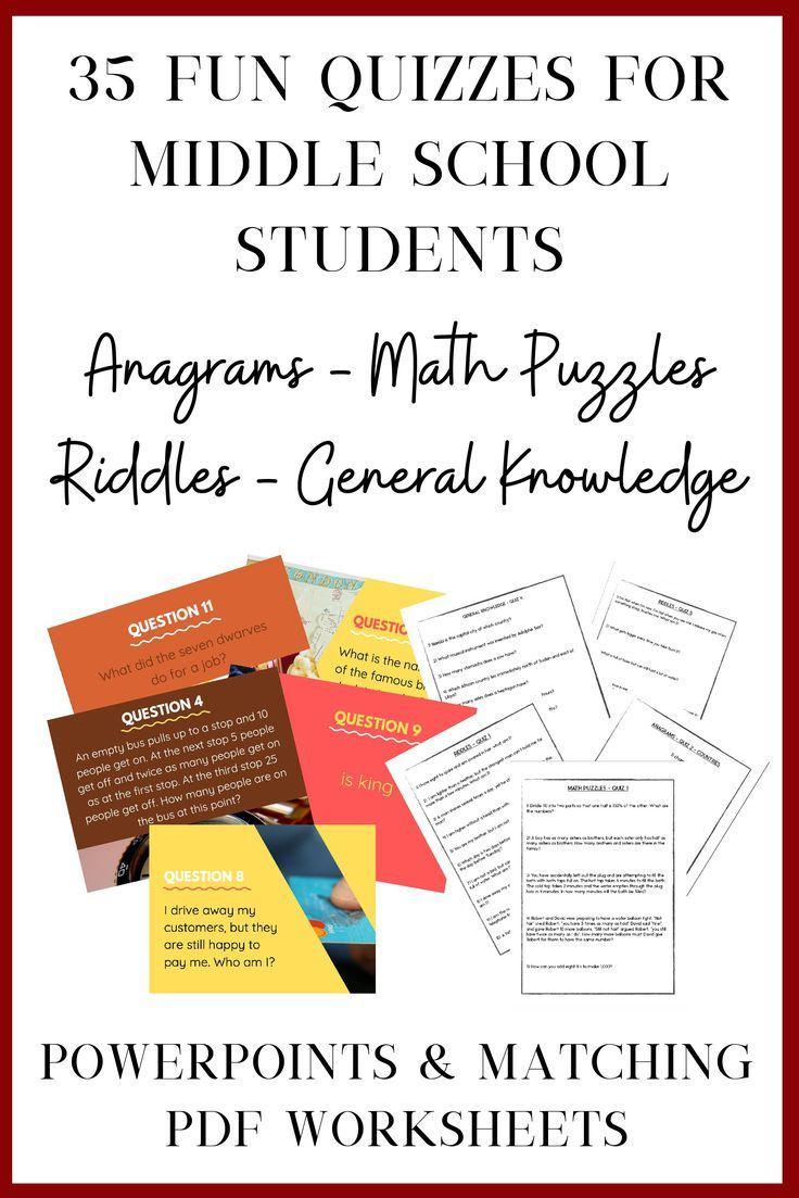 35 Fun Quizzes for Middle School Anagrams, Riddles