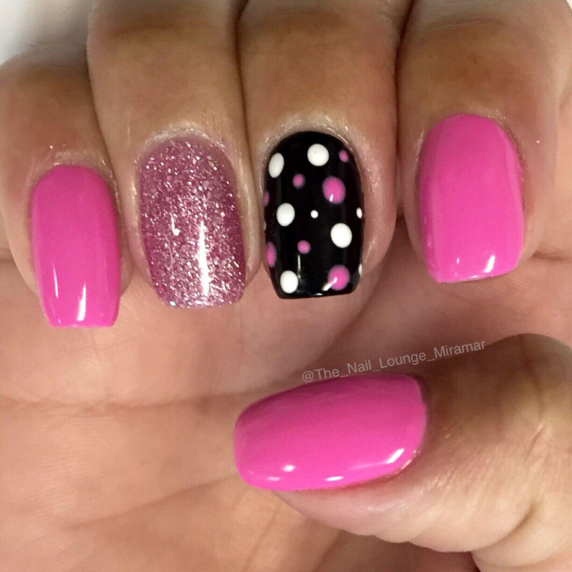 Simple Pink Black White Dots Nail Art Design Nail Art Nail Art
