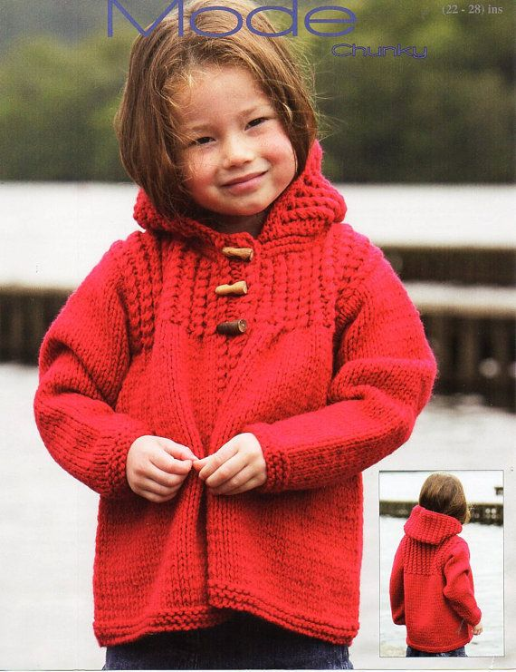 Childrens Duffle Coat Knitting Pattern Childs Chunky Coat Hooded