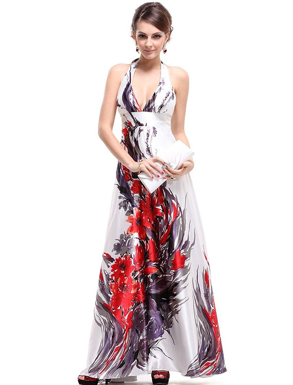 6ba95c349d67 Floral Print V Neck Long Prom Dress With Empire Waist