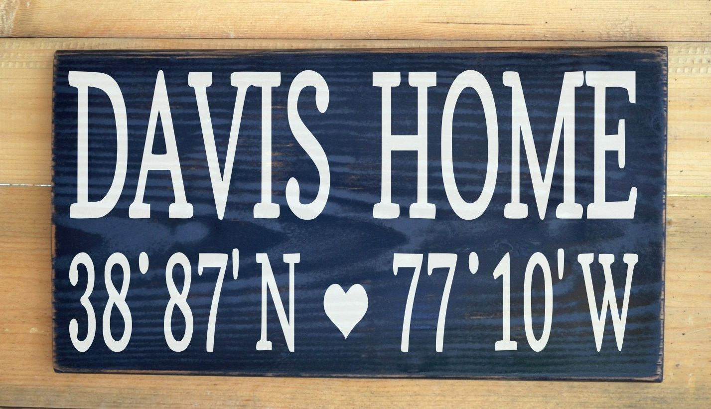 In memory of family wedding sign we know you by signstoliveby - Latitude Longitude Personalized Family Name Sign Outdoor Home Last Names Wooden Wall Address Map Gps Coordinates Christmas Wedding Gift