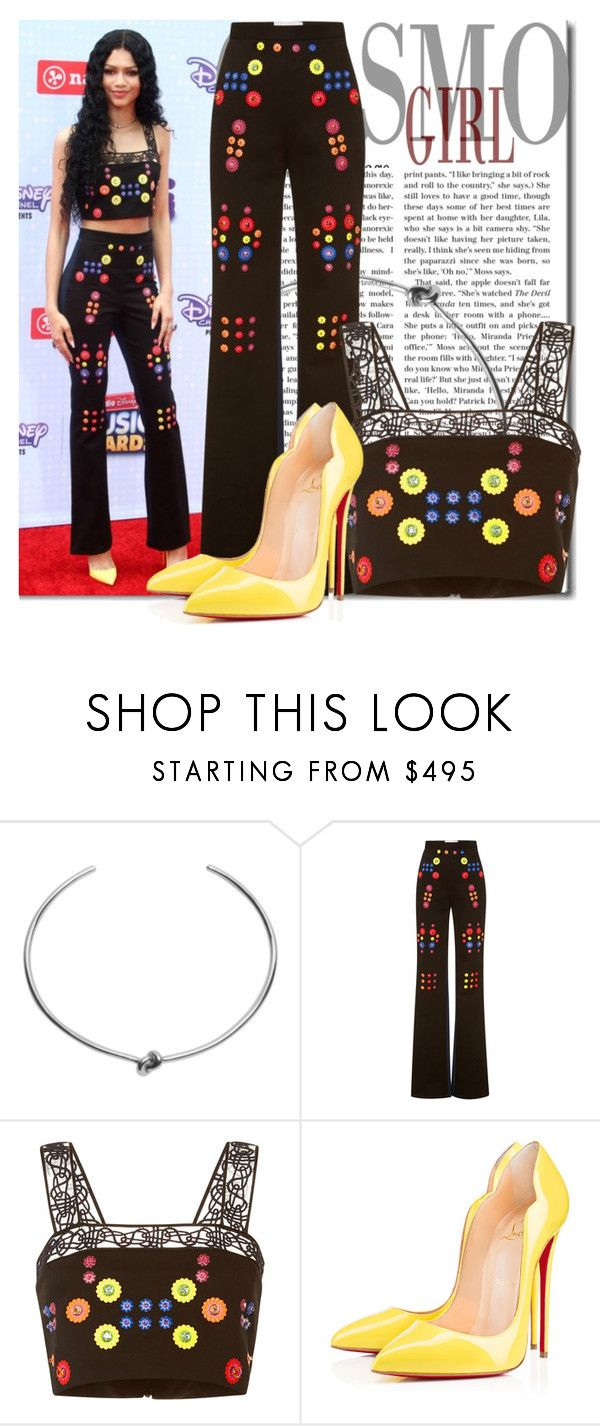 """""""461. Zendaya Coleman"""" by claudisca ❤ liked on Polyvore featuring Jennifer Fisher, Peter Pilotto, Christian Louboutin, women's clothing, women, female, woman, misses, juniors and PeterPilottoprint"""