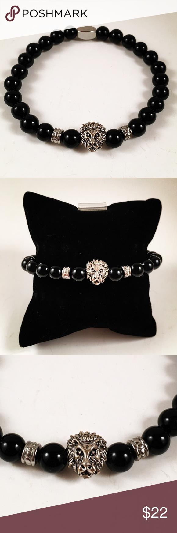 Men onyx beaded lion head bracelet men beaded bracelet fits most