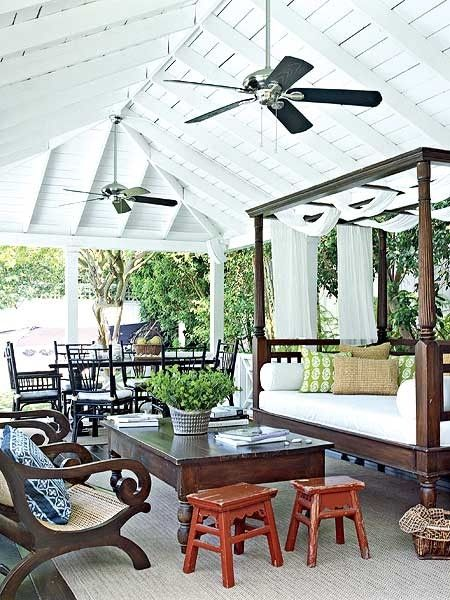 4 poster daybed, and timber outside furniture pieces under ... on Living Spaces Outdoor Daybed id=85128
