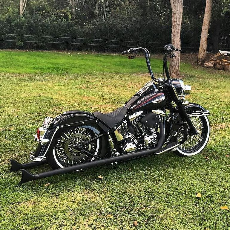 Love The Blacked Out Fishtails Custom Built Harley Davidson Bobber Chopper Bikes Old School Motorcycles And Apparel Inspiration