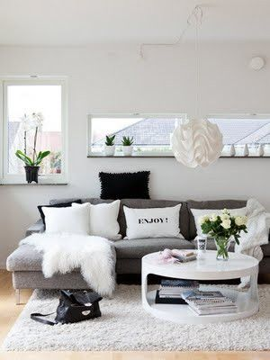 love the color schemegray couch, black and white pilows Home
