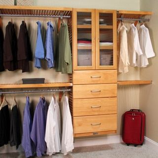 John Louis Home Collection Honey Maple Deluxe Closet System   Overstock.com  Shopping   The Best Deals On Closet Storage