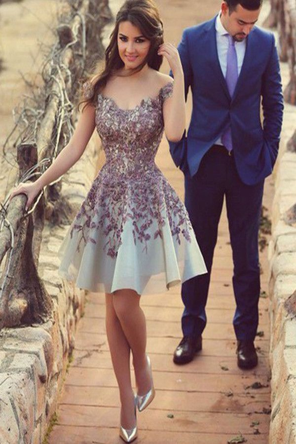 937f7b2567 A-Line Off-the-Shoulder Above-Knee Blue Satin Homecoming Dress with ...