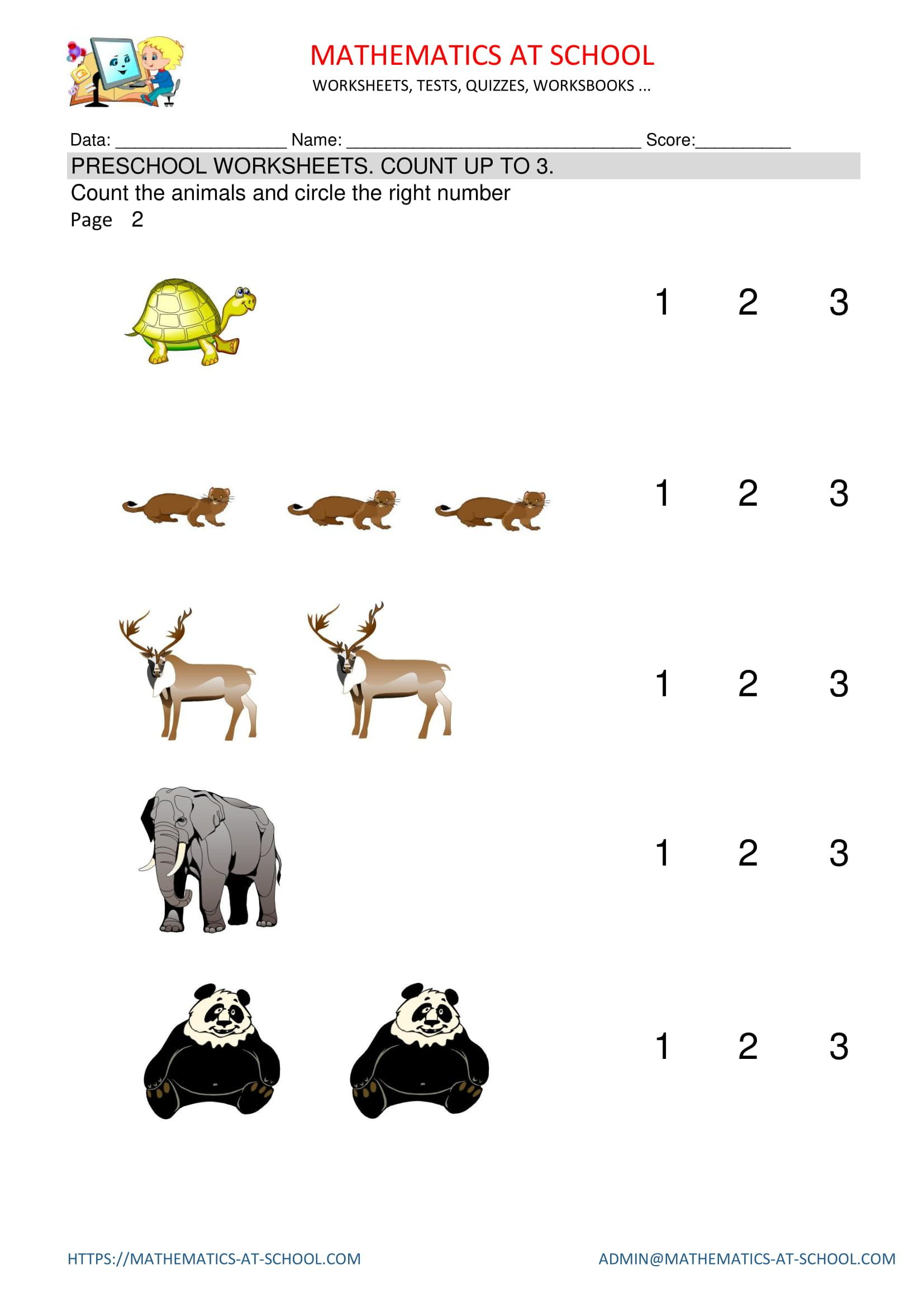 Pre Kindergarten Math Worksheets Counting Count Animals