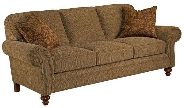 Broyhill Furniture   Larissa Cherry Stain Chenille Fabric Queen Goodnight  Sleeper   BRO 6112