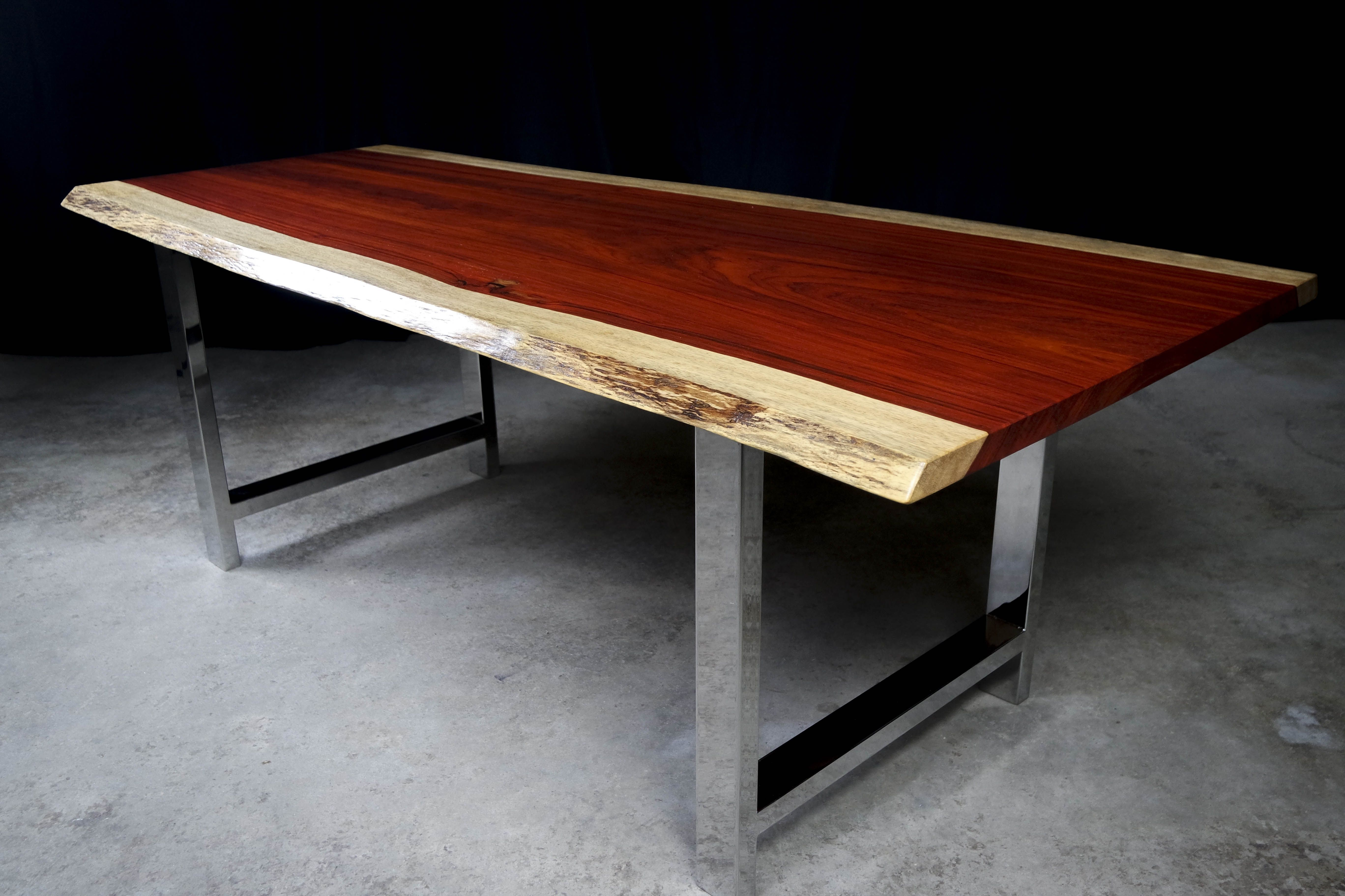 Live Edge Padauk Slab Dining Table With Chrome Legs By MericanRusticLLC On Etsy