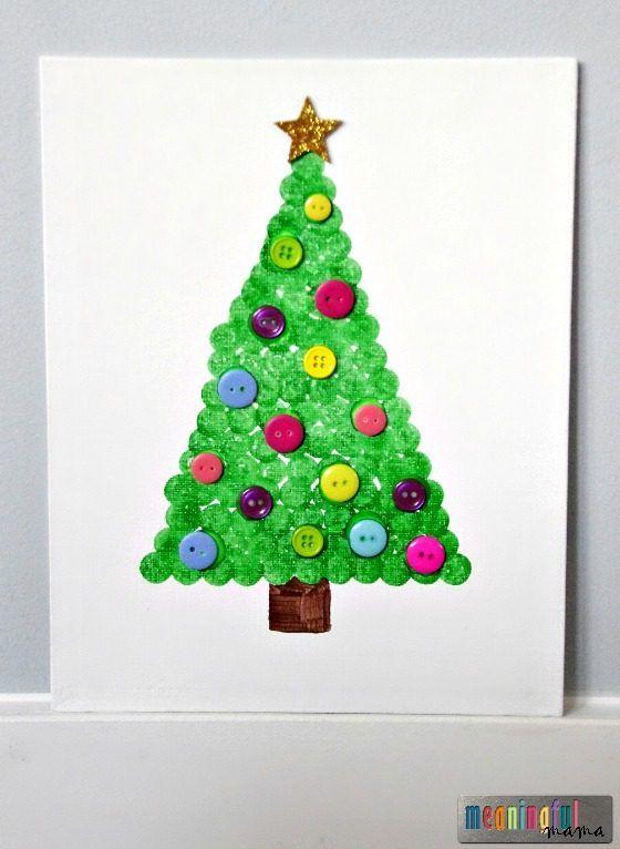 Dot Paint Christmas Tree On Canvas Diy Christmas Canvas Christmas Crafts Christmas Canvas Art