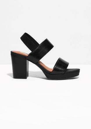 & Other Stories | Heeled Stacked Leather Sandals