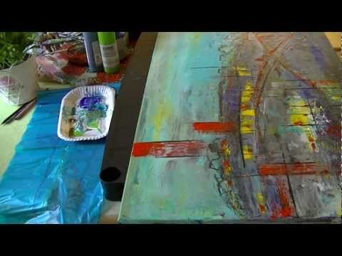"▶ Acrylmalerei abstract acrylic painting Demo Abstraktes Bild malen ""Noname"" - YouTube"