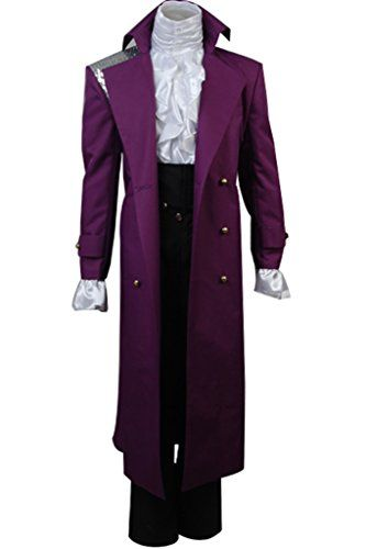 Purple Rain Prince Costume Rogers Nelson Dark Purple Cool Trench Coat Halloween