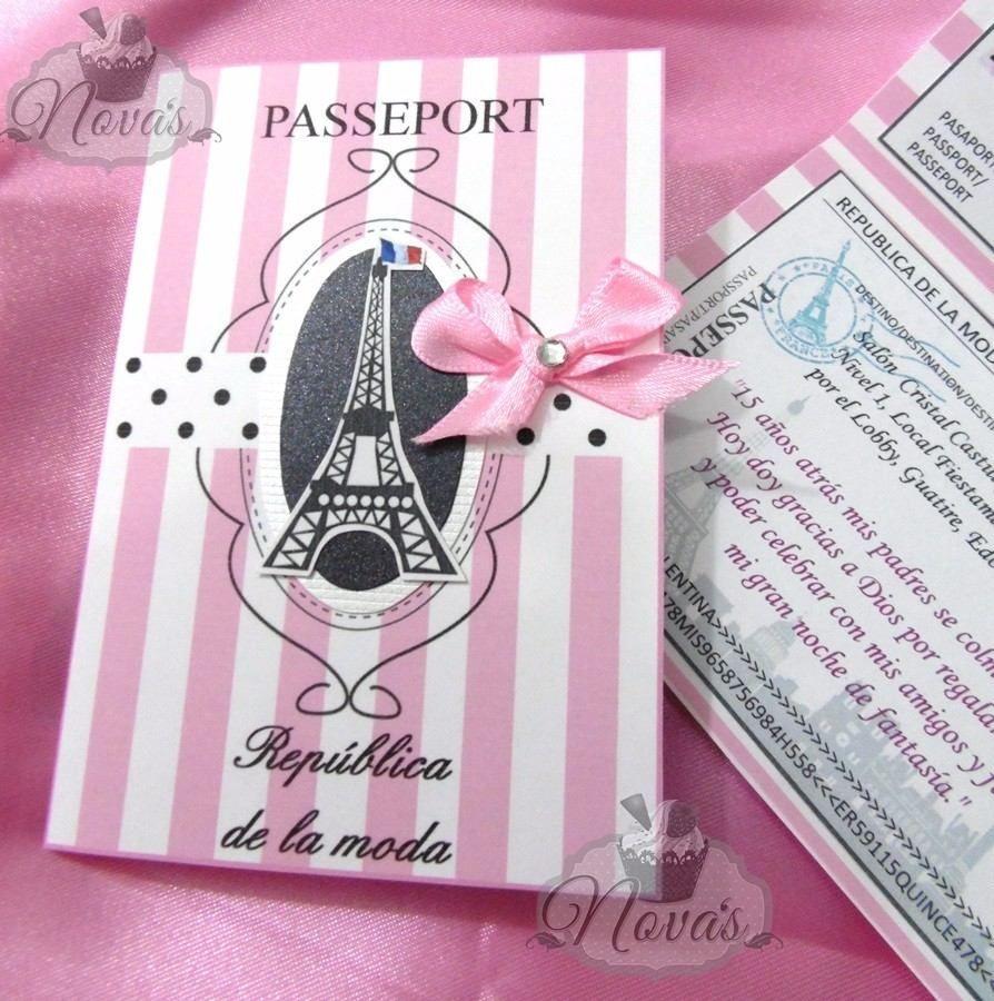 Tarjeta Invitación Pasaporte Boda 15 Años Infantil Bs