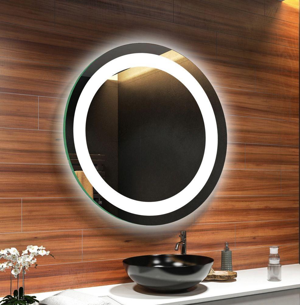 Badspiegel Mit Led Beleuchtung Der Touch Schalter Betatigt Die