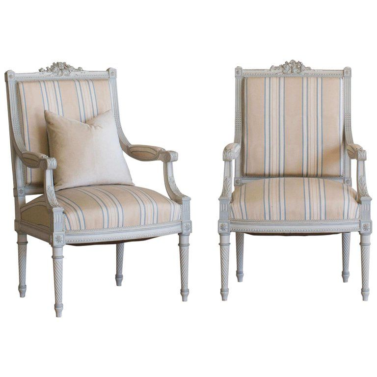 Antique Pair Of Armchairs In Stripe Fabric For Sale