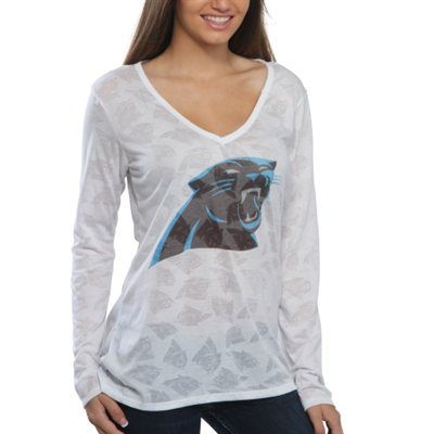 check out 4e8d6 501e2 Carolina Panthers Women's Sublime Burnout V-Neck Long Sleeve ...