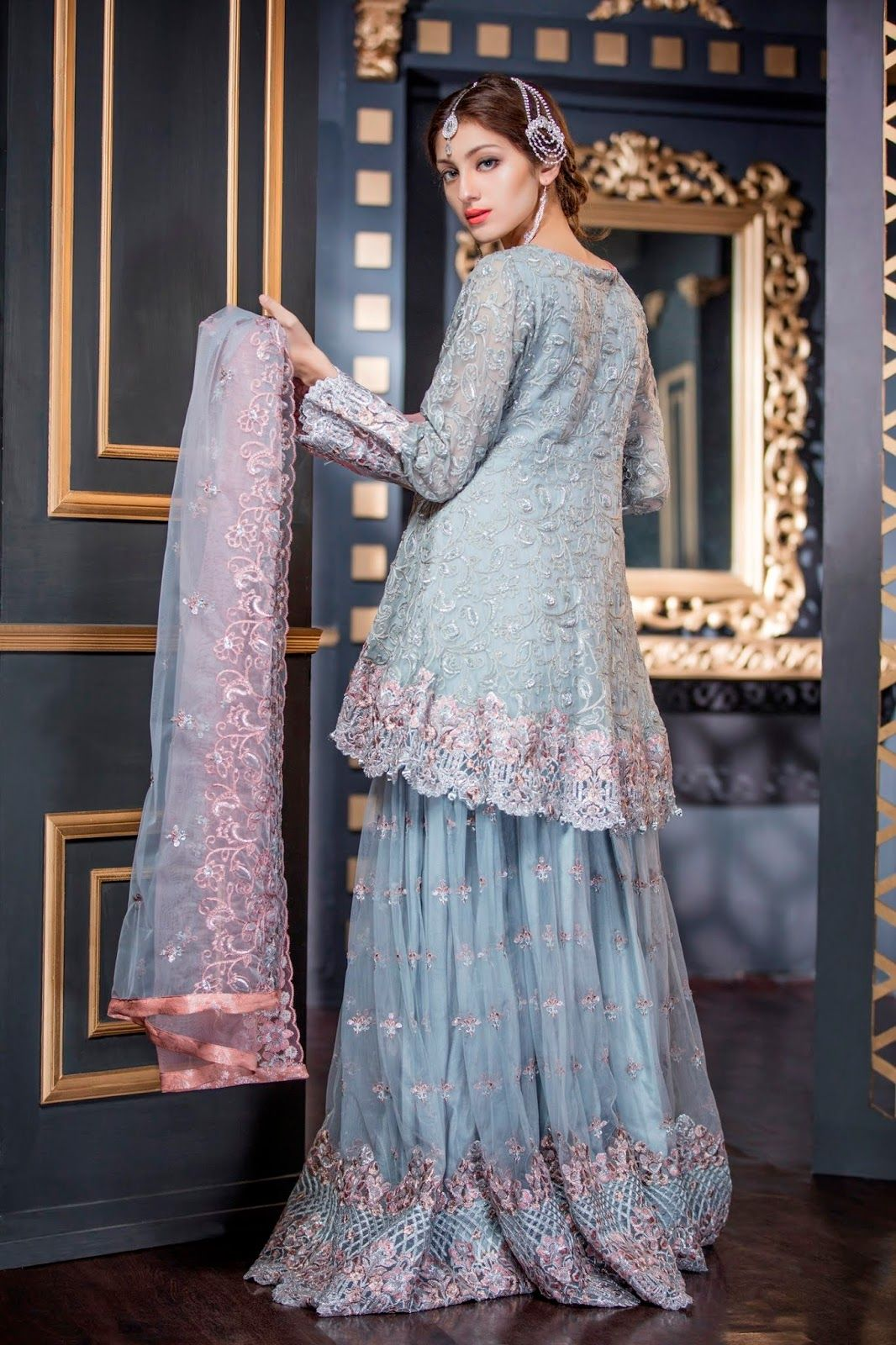 a35a444a3b Maryam n Maria Freesia Chiffon 2018 Volume 2 Collection SILVER STONE  (FMM-210) with model Neha Rajpoot
