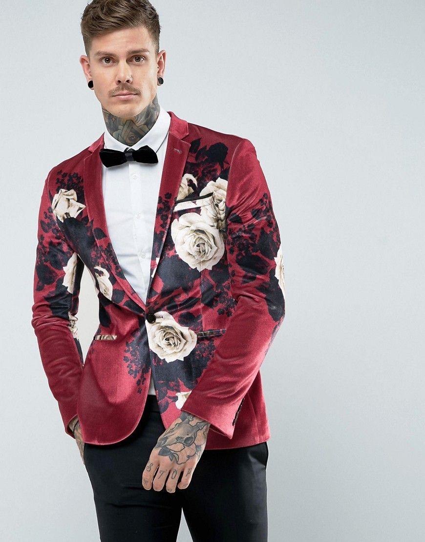 ASOS Super Skinny Blazer In Burgundy Velvet With Floral Print - Red