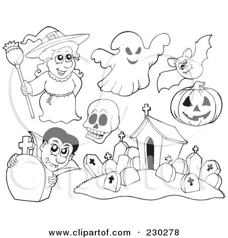 Clipart Illustration Of A Digital Collage Halloween Coloring Page ...