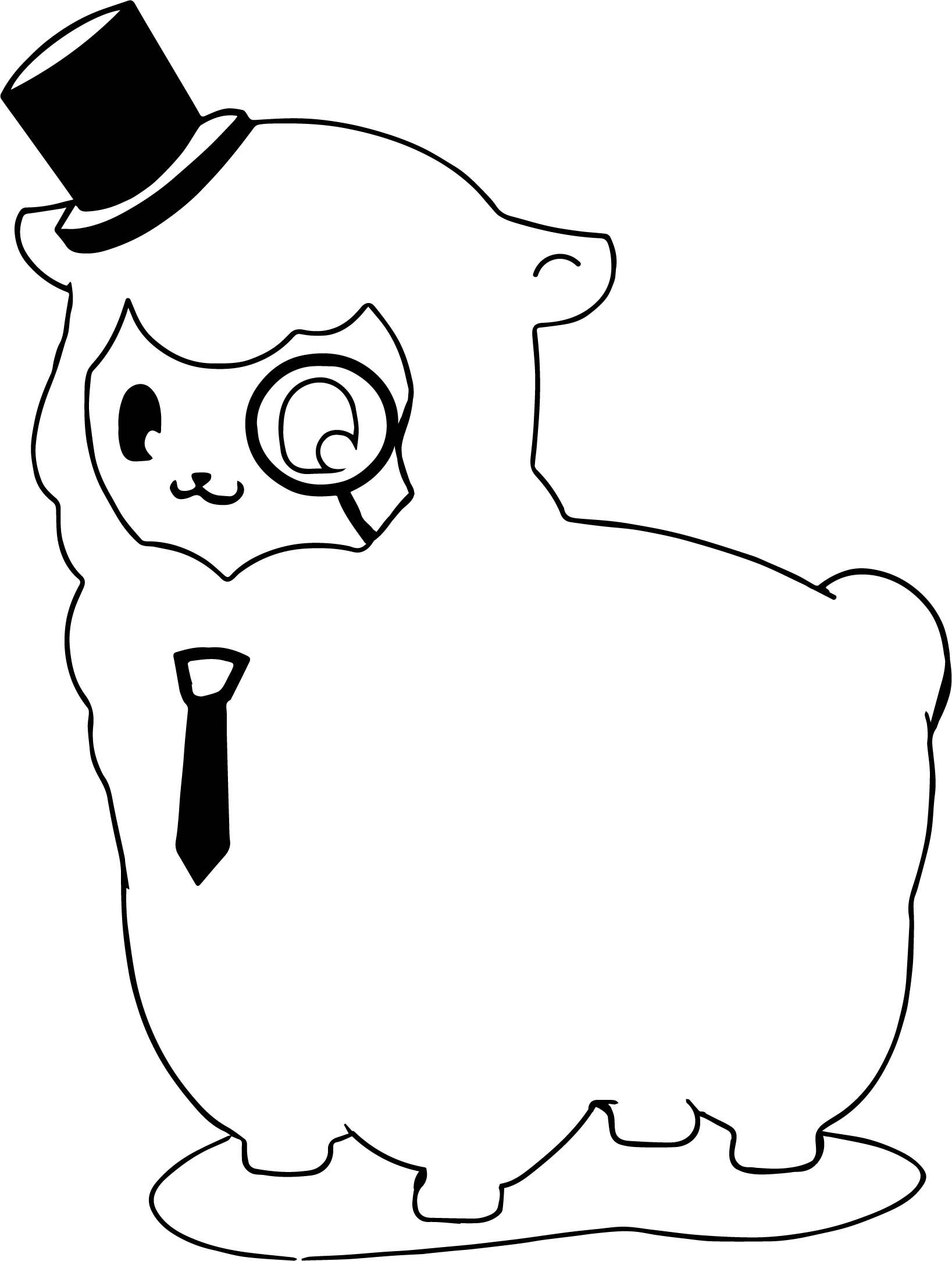 nice Knowledgeable Alpaca Coloring Page Animal coloring