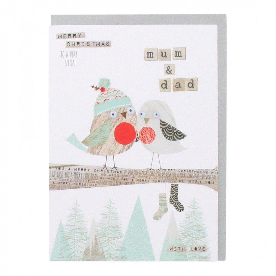 Robins mum and dad Christmas card - All Christmas Cards - Christmas ...