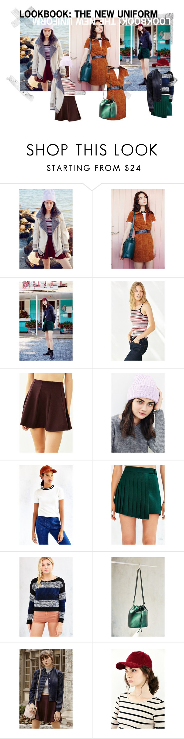 """Lookbook: The New Uniform"" by urbanoutfitters ❤ liked on Polyvore featuring J.O.A., Ecote, Kimchi Blue, Urban Outfitters, Glamorous, BDG, Cooperative and Silence + Noise"