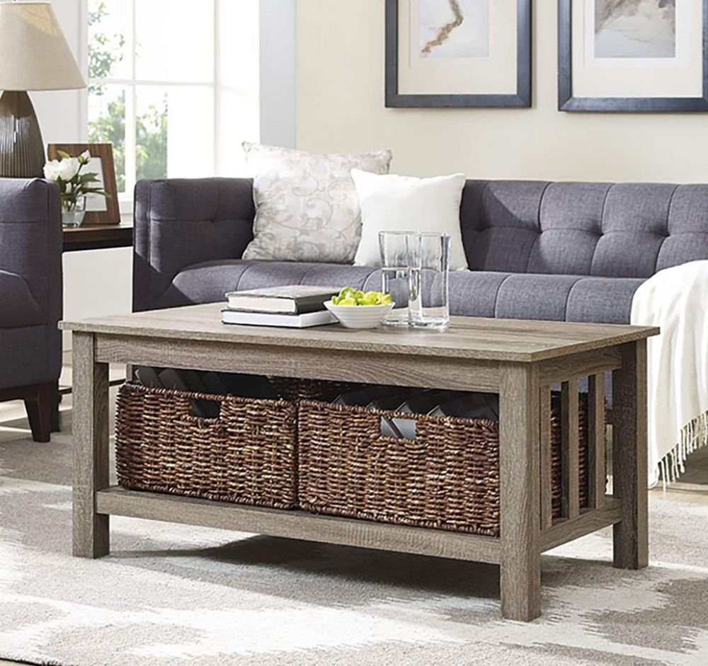 40 Inch Contemporary Storage Coffee Table Rectangle With Wicker