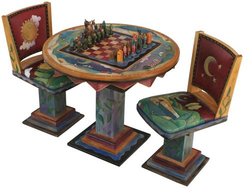 Sticks Custom Made Chess Table Painted Game Table Chess Table Backgammon Table